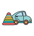 kids toy blue car and rubber pyramid toys vector image vector image