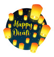 lettering congratulation happy divali with paper vector image vector image