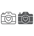 love camera line and glyph icon photography and vector image vector image