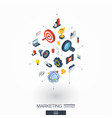 marketing integrated 3d web icons digital network vector image vector image