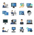 Programmer Icons Flat Set vector image vector image