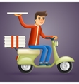 Realistic Pizza Delivery Courier Motorcycle vector image
