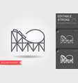 roller coaster line icon with editable stroke vector image
