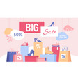 shoe discount big sale banner with shopping bags vector image vector image