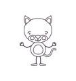 sketch contour caricature of cute kitten vector image vector image