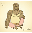 Sketch fancy gorilla in vintage style vector image vector image