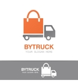 truck and shopping bag logo concept vector image vector image