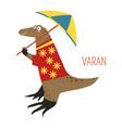 varan lizard cartoon south east asia animal vector image