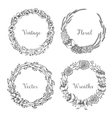 vintage wreaths collection trendy cute vector image