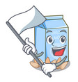 with flag almond milk in the cartoon shape vector image