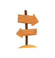 wooden arrow sign post right and left direction vector image vector image