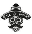 Dia de Muertos Day of Dead Black Skull in Mexican vector image