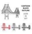 golden gate bridge icon in cartoon style isolated vector image