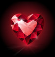Red shining ruby heart shape on dark background vector image