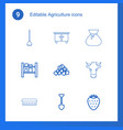 9 agriculture icons vector image vector image