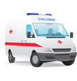 ambulance van with red cross vector image vector image