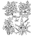 black and white flowers set floral collection vector image