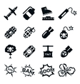 Bomb icons Black and white bombs signs pictograms vector image