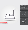 bumper car line icon with editable stroke with vector image