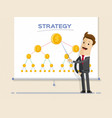 businessman and graphs on projector screen vector image