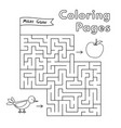 cartoon bird maze game vector image vector image