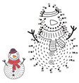 connect the dots and draw a funny snowman vector image vector image