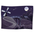 Countryside with windmill in the night vector image