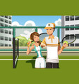 couple playing tennis vector image