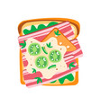 delicious toasted bread with green salad vector image