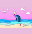 dolphin and beach ball in the sea in paper cut vector image