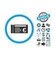 Euro Ticket Flat Icon with Bonus vector image vector image