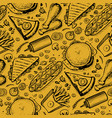 fast food hand drawn vintage pattern vector image