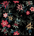 floral pattern on a black background vector image vector image