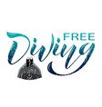 free diving colored text vector image