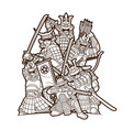 group samurai warrior with weapon vector image vector image