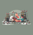 gulliver lies bound by ropes vector image