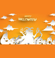 halloween background with witch and pumpkin in vector image vector image