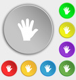 hand icon sign Symbol on eight flat buttons vector image vector image