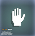 Hand print sign icon Stop symbol On the blue-green vector image