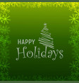 happy holiday green snowflake background vector image vector image