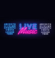 live music neon sign live music design vector image vector image