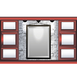 mock up frame in the room with red shelves vector image