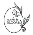 nature bloom floral label monochrome sketch vector image