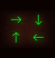 neon green arrows isolated on brick wall light di vector image vector image