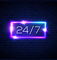 opening hours 24 7 neon rectangle on brick wall vector image vector image