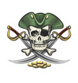 pirate skull in sailor hat with sabres and coins vector image vector image