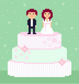 pixel art wedding couple characters vector image