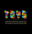 plastic construction blocks font vector image vector image