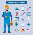 plumber service icon set vector image vector image
