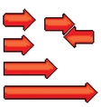red pixel style arrow sign or button for web vector image